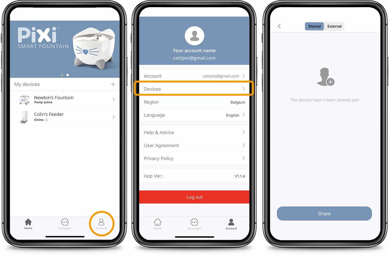 PIXI App Account Device 1