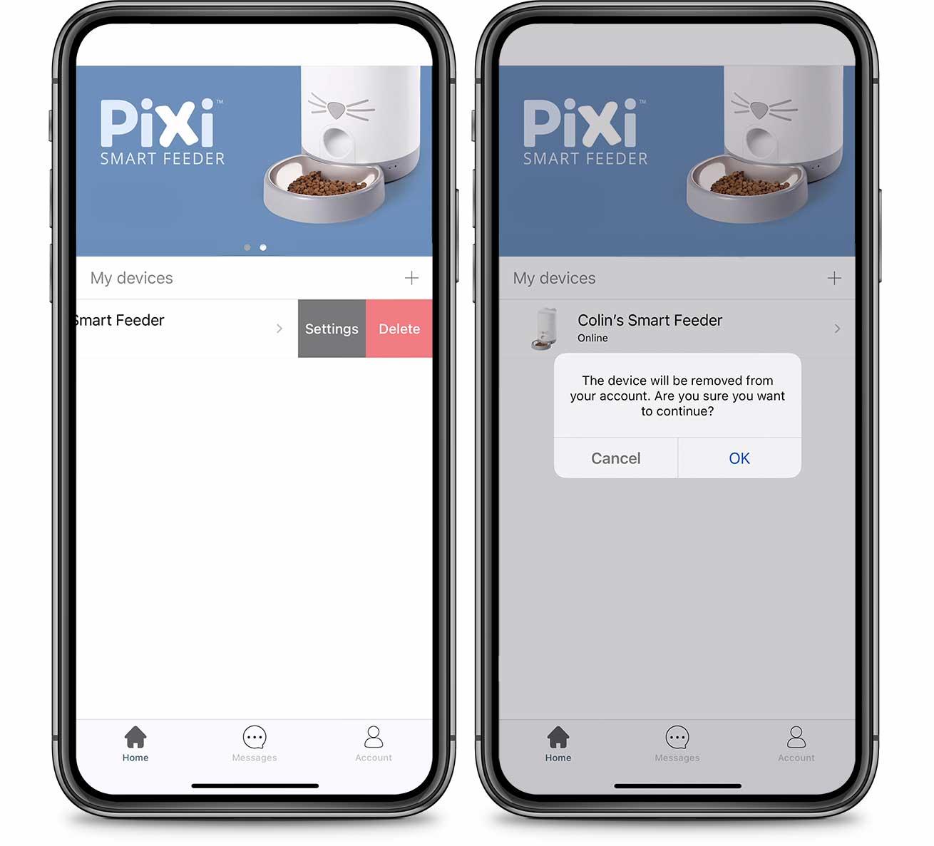 PIXI App Delete Device
