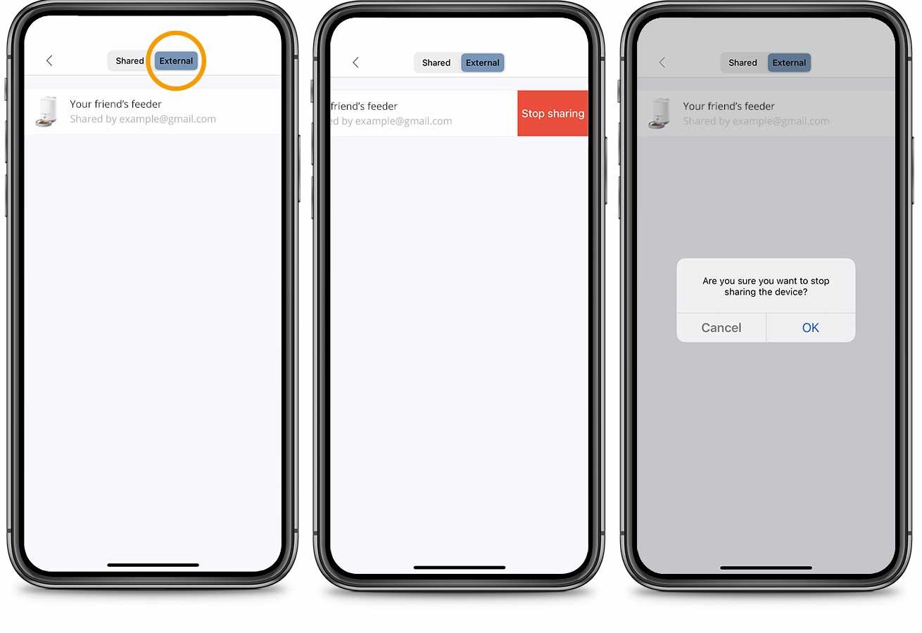 PIXI App Delete sharing device