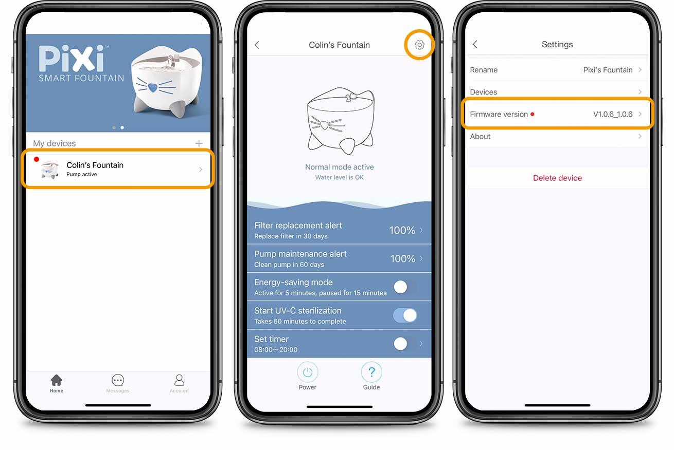 PIXI App Firmware update