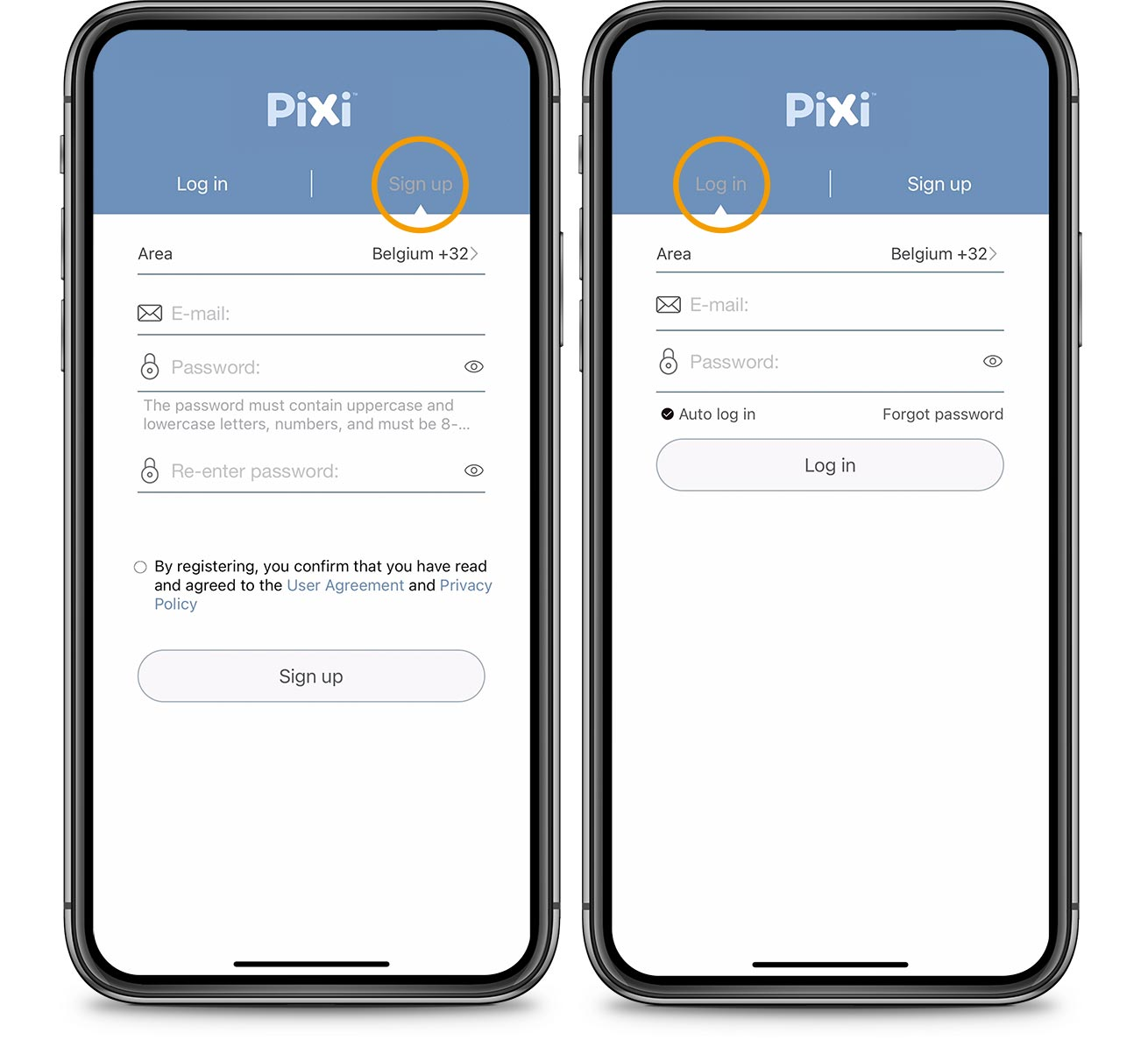 PIXI App Log in Sign up